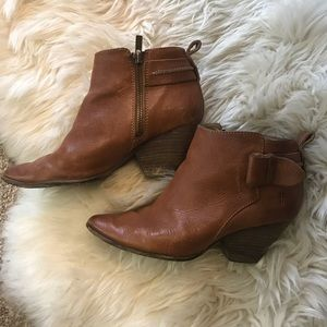 Frye brown leather ankle booties